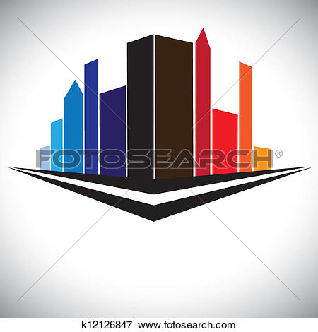 Clip Art of colorful buildings of cityscape urban setting with.