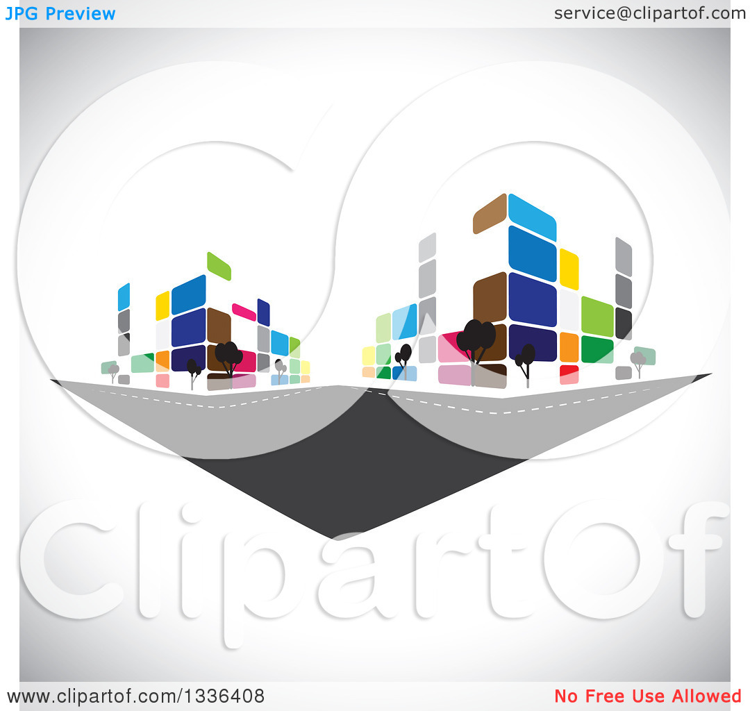 Clipart of a City Street with Colorful Urban Buildings over.