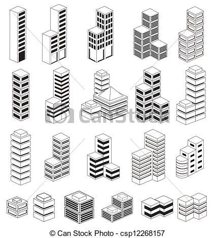 Clipart Vector of Urban buildings.