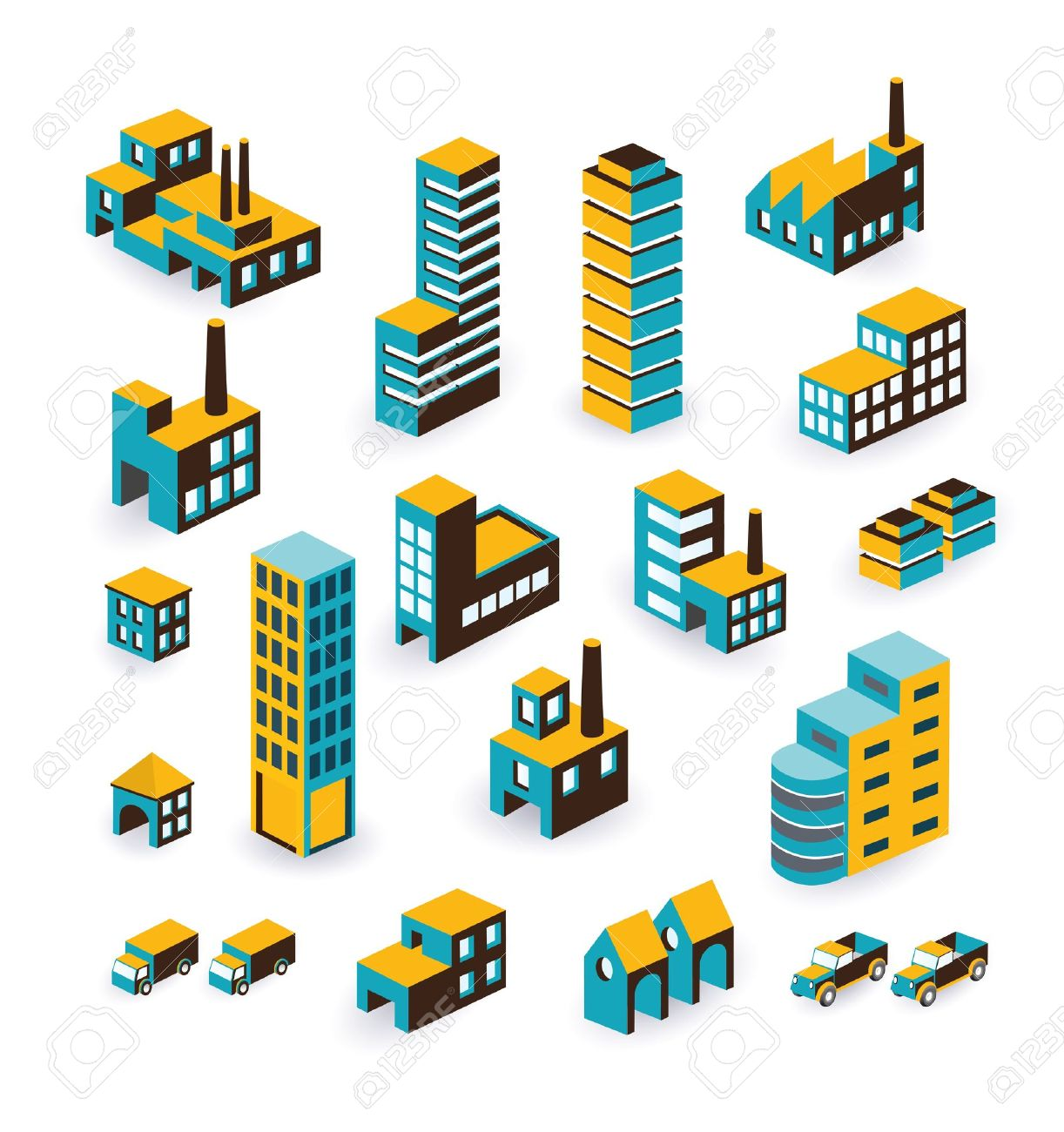 A Set Of Urban And Industrial Buildings In The Isometric Royalty.