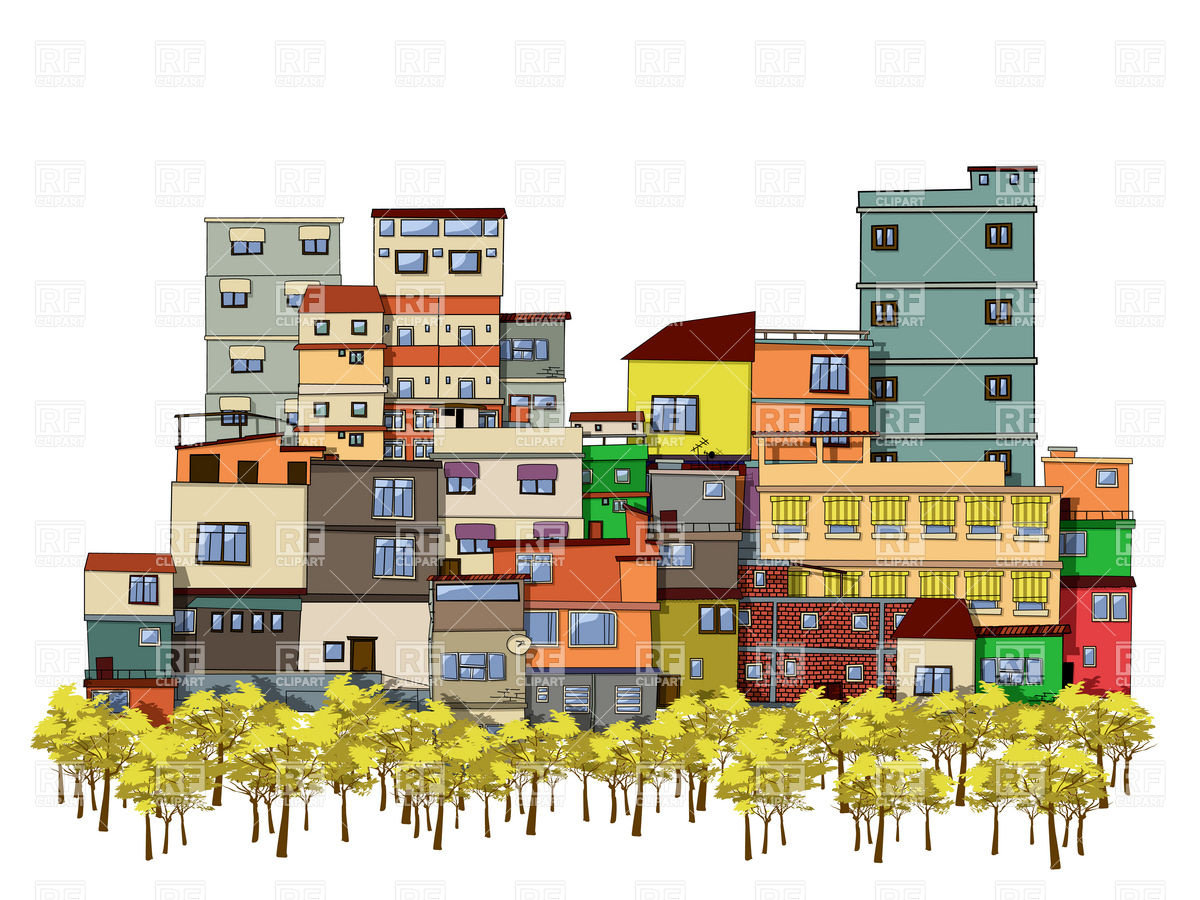Urban cityscape with trees and houses.