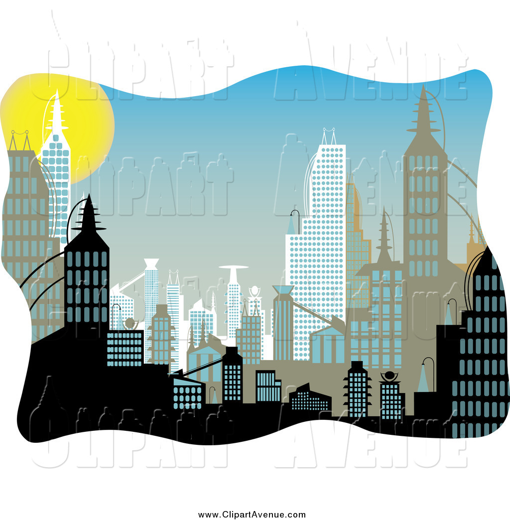 Avenue Clipart of Urban Buildings During the Day by mheld.
