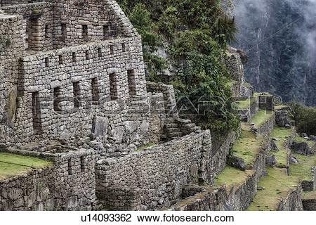 Stock Photo of Machu Picchu Inca ruins : detail of agricultural.