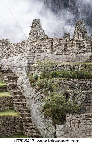 Picture of Machu Picchu Inca ruins : detail of agricultural sector.