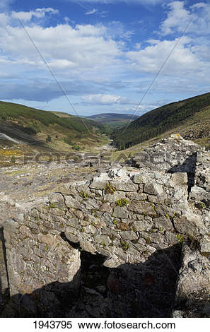 Stock Image of Ruined Buildings At The Old Lead Mines Above.