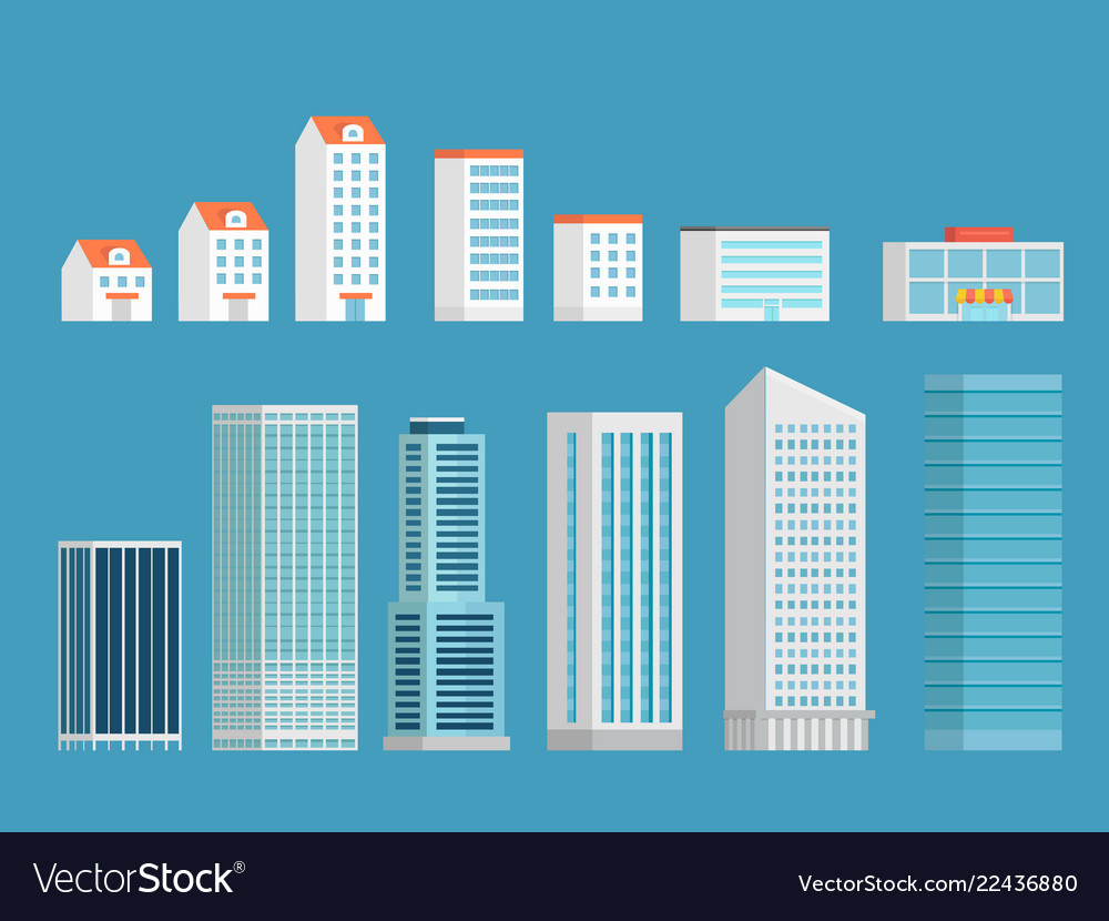 Modern city buildings clipart isometric buildings.