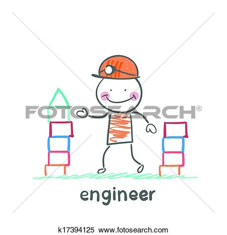 Clipart of engineer builds a tower of blocks k17394125.