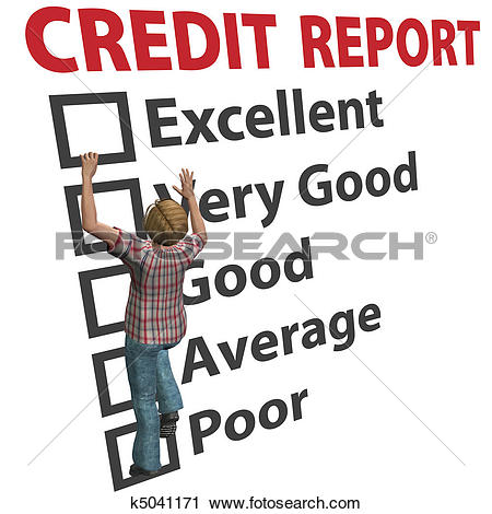 Clipart of Woman builds up credit report score rating k5041171.