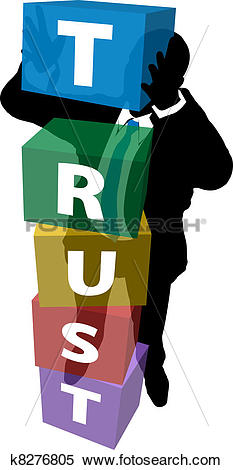 Clipart of Business person builds loyal customer trust k8276805.