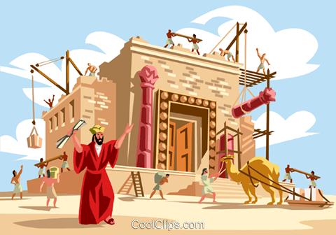 Solomon builds the Temple Royalty Free Vector Clip Art.
