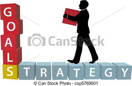 Vector Clip Art of GOALS STRATEGY man builds business blocks.
