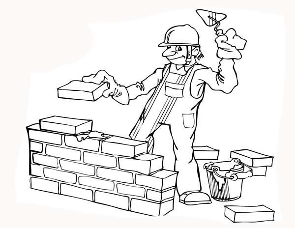 Construction, : Construction Worker Build a Wall Coloring Page.