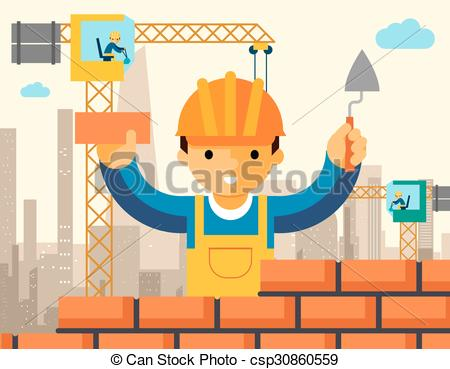 Clipart Vector of Builder builds brick wall of house. Worker or.