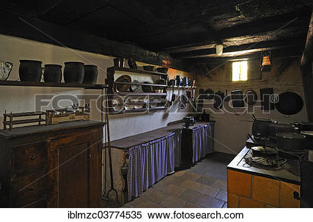"Stock Image of ""Kitchen in a farmhouse, built around 1858."