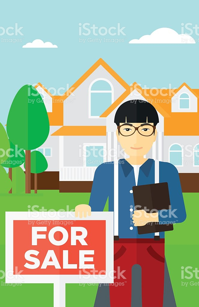 Real Estate Agent Offering House stock vector art 519622228.