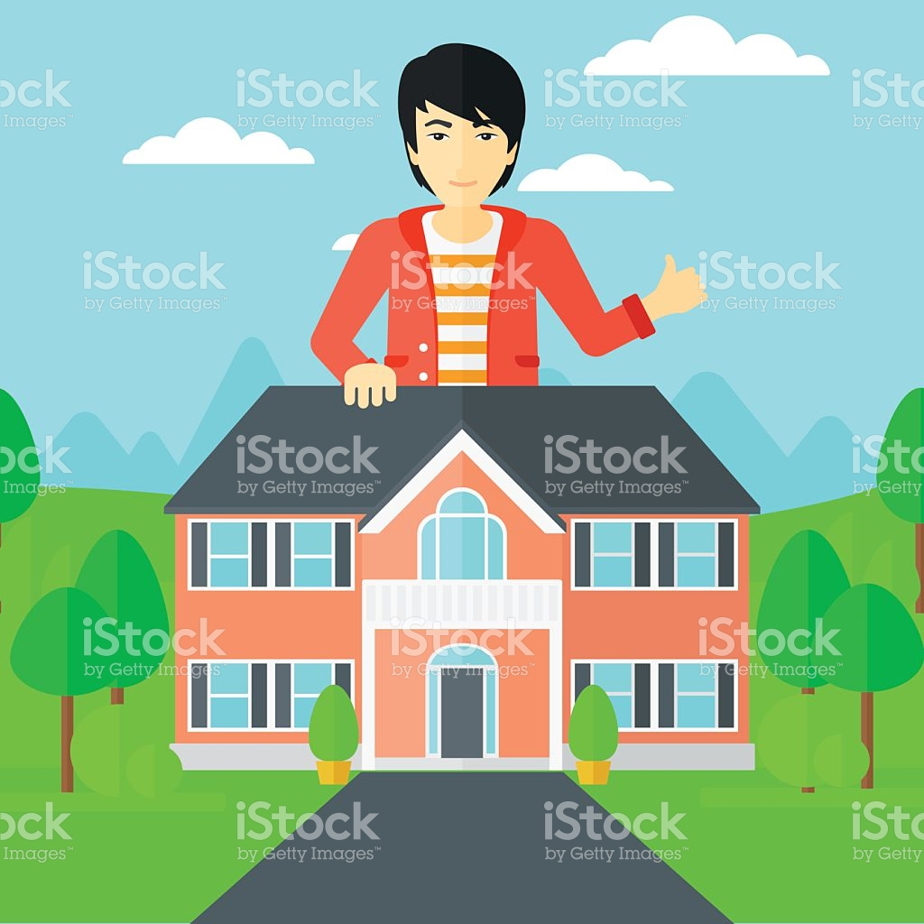 Real Estate Agent Showing Thumb Up stock vector art 519621082.
