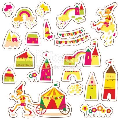 Cute Cartoon Buildings Set Of Childrens Stickers stock vector art.
