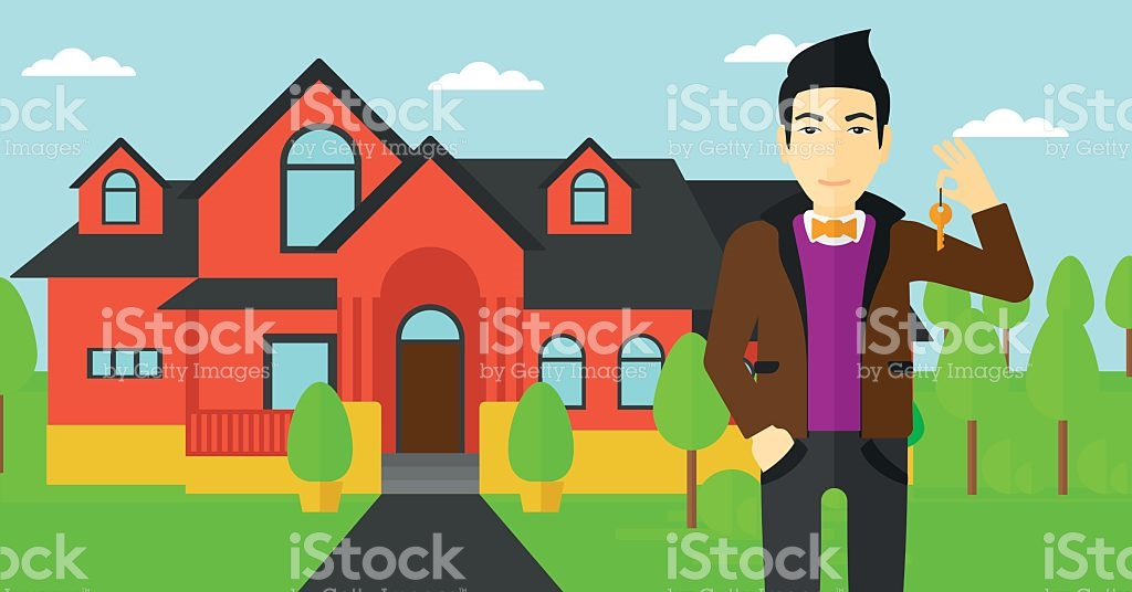 Real Estate Agent With Key stock vector art 519620722.