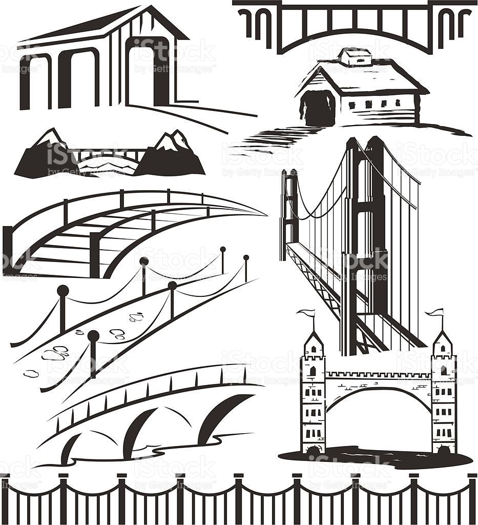Different Bridge Clip Art In Black And White stock vector art.