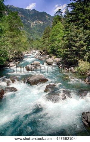 Waterfall Mountain Mountain River Stock Photo 558895867.