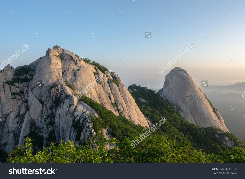 Baegundae Peak Bukhansan Mountains Seoul South Stock Photo.