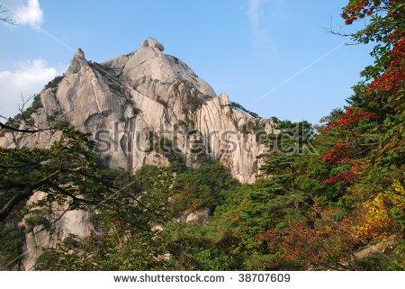 Baegundae Peak Mountains Bukhansan Seoul South Stock Photo.