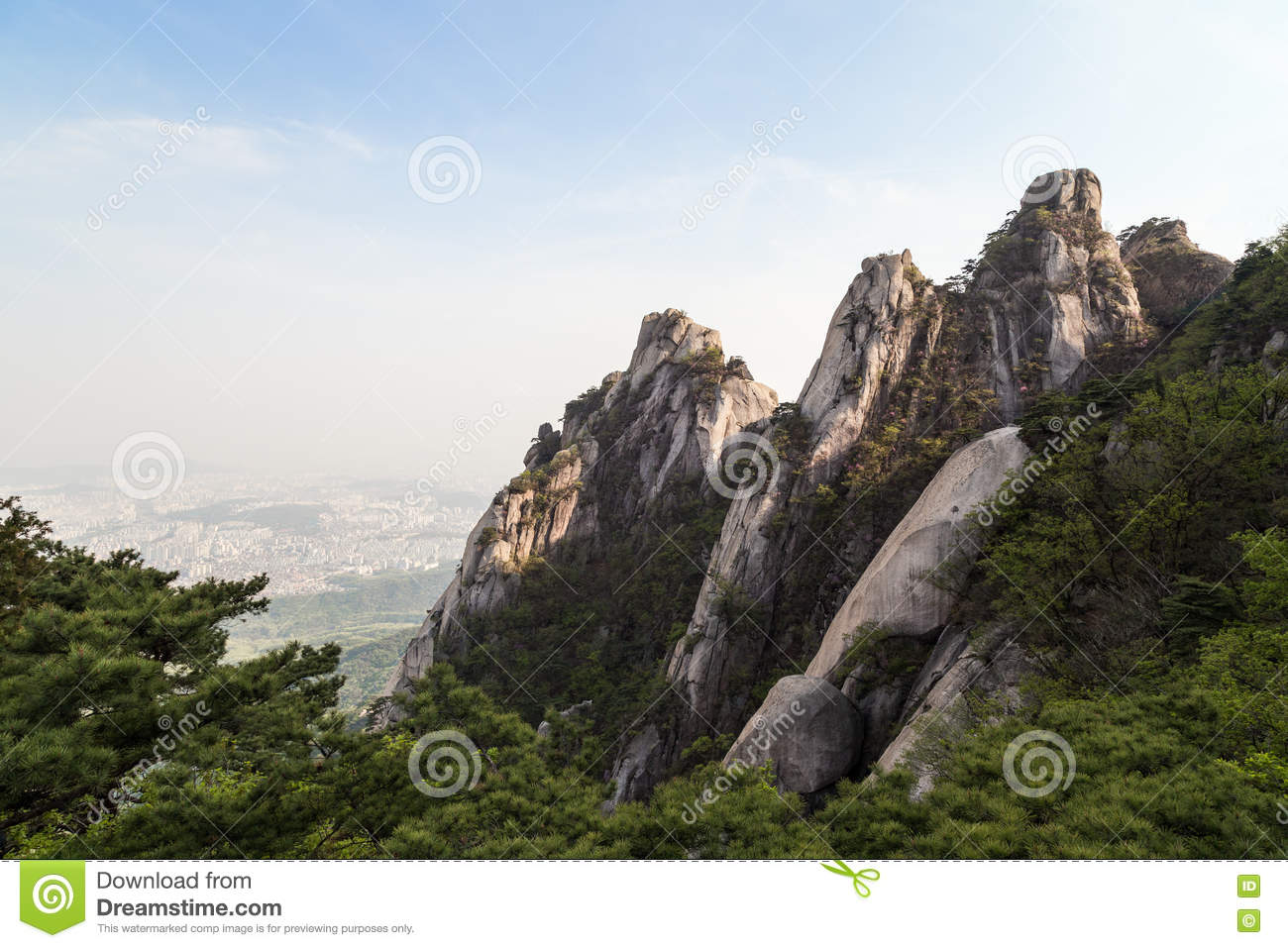 Rugged Mountain Peaks At The Bukhansan National Park In Seoul.