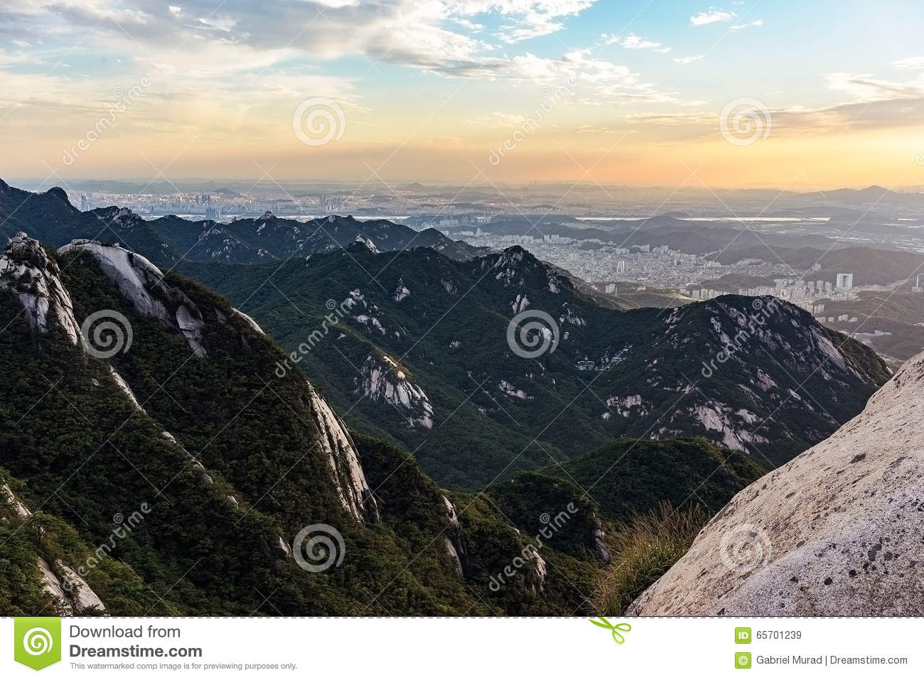 Bukhansan Mountain At Sunset Stock Photo.