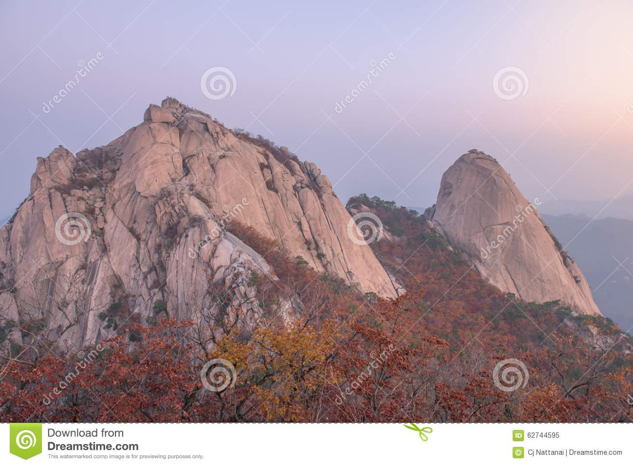 Sunrise Of Baegundae Peak, Bukhansan Mountains In Seoul Stock.