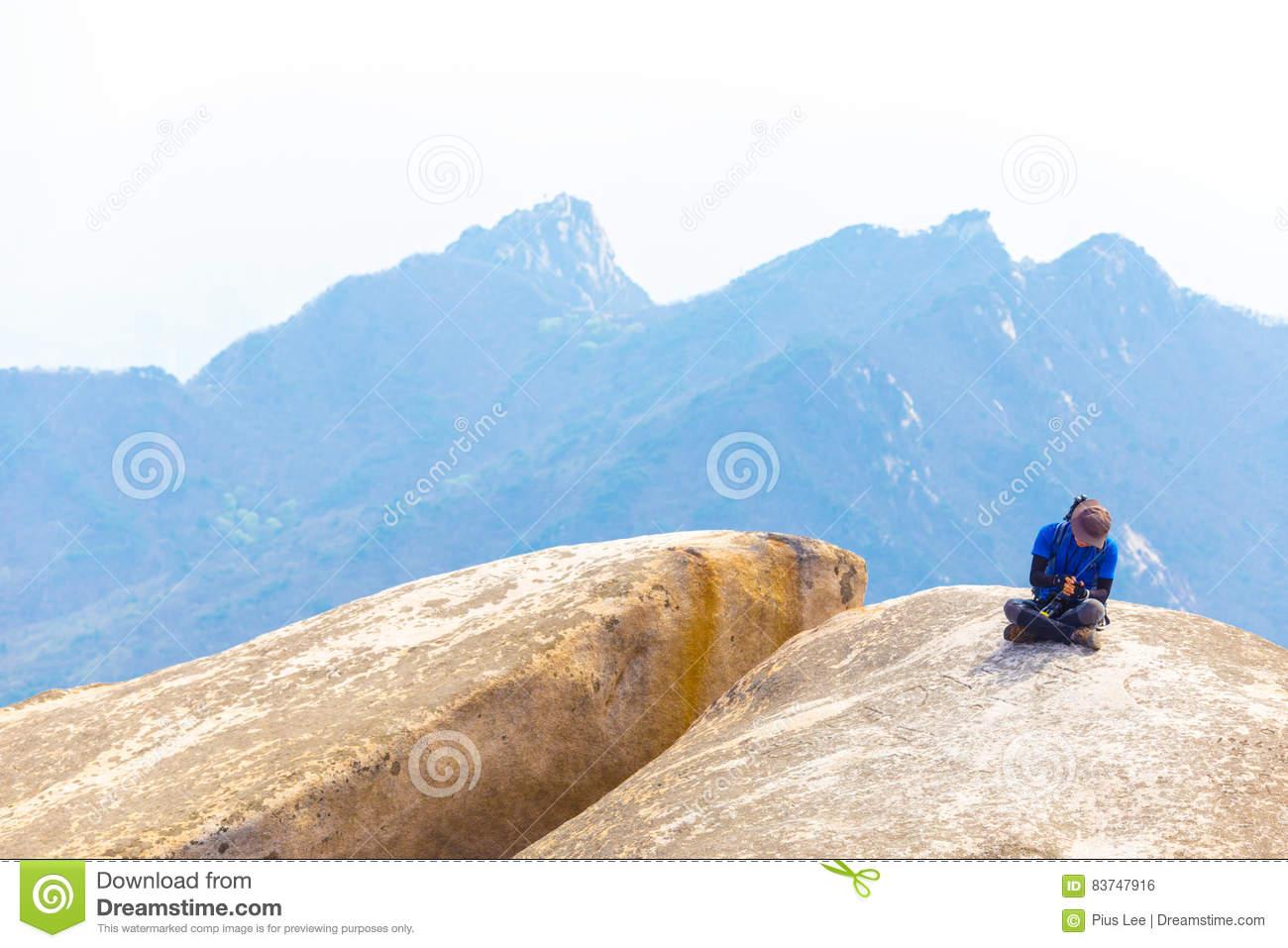 Bukhansan Mountain Baegundae Man Sitting Peak View Editorial Photo.