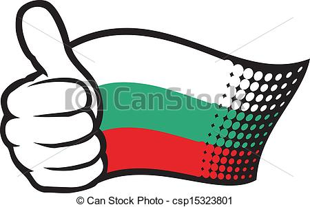 Vector Clipart of flag of bulgaria. hand showing thumbs up.