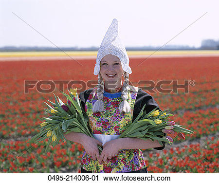 Stock Photography of Holland, Lisse, Bulb Fields, Girl Dressed in.