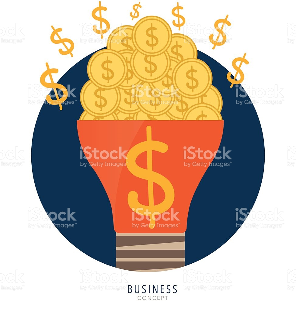 Light Bulb With Money Coins And Money Coins On Hand stock vector.