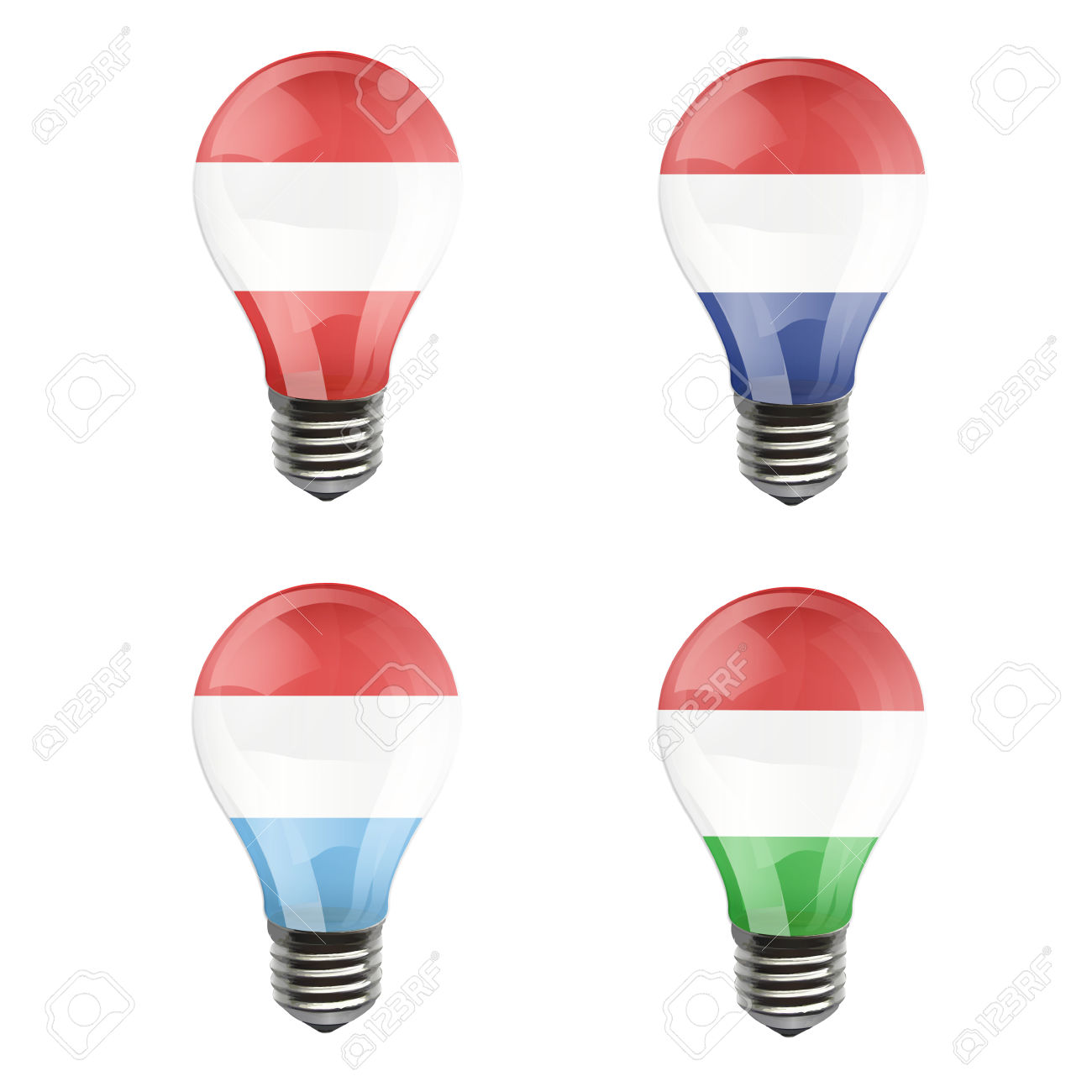 Realistic Bulb Of Austria, Luxembourg, Netherlands, Hungary.