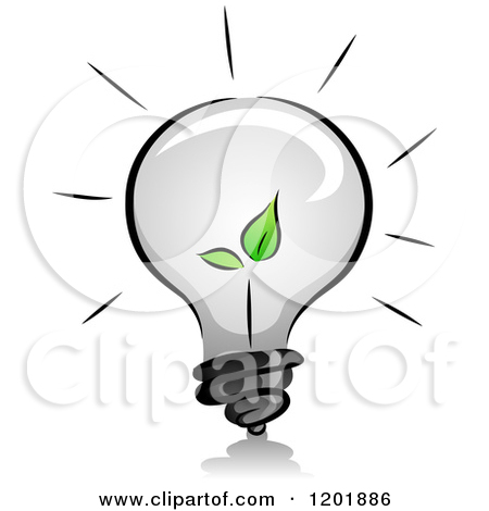 Clipart of a Grayscale Lightbulb with a Green Seedling Plant.
