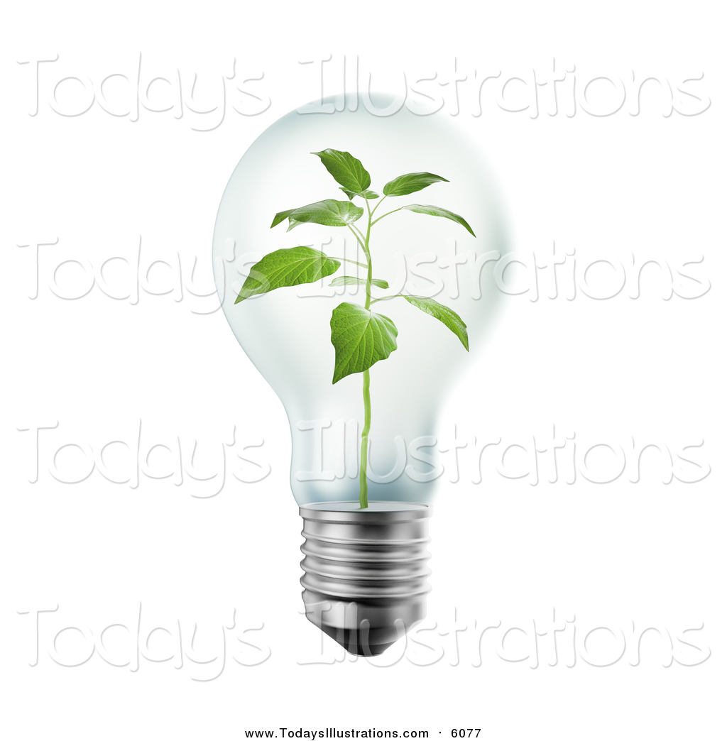 Clipart of a 3d Plant Inside a Light Bulb by Mopic.