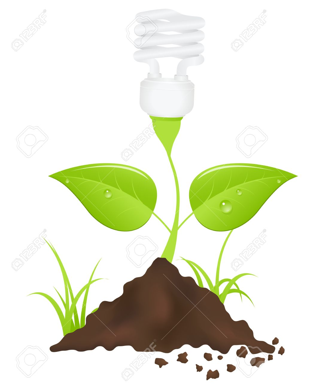 Light Bulb Plant. Save Energy. Vector Illustration. Royalty Free.