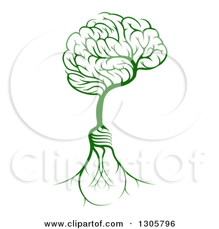 Clipart of a Leafy Heart Shaped Tree with Light Bulb Shaped Roots.