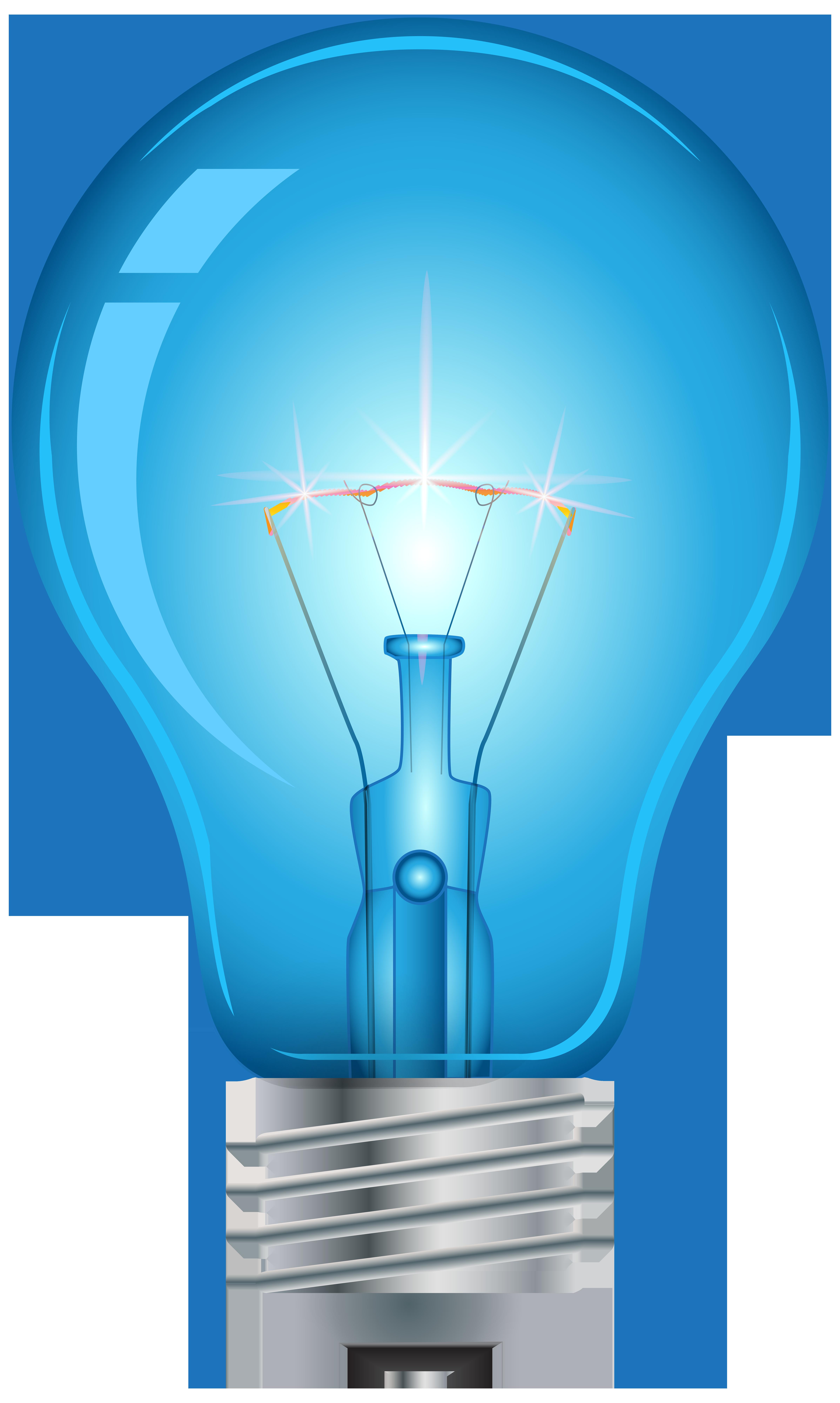 Blue Light Bulb PNG Clip Art.
