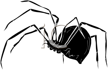 Royalty Free Clip Art Image: Spider with a Bulbous Body.