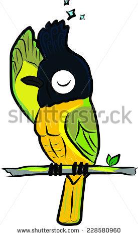 Funny Hand Drawn Blackcrested Bulbul Bird Stock Vector 228580960.