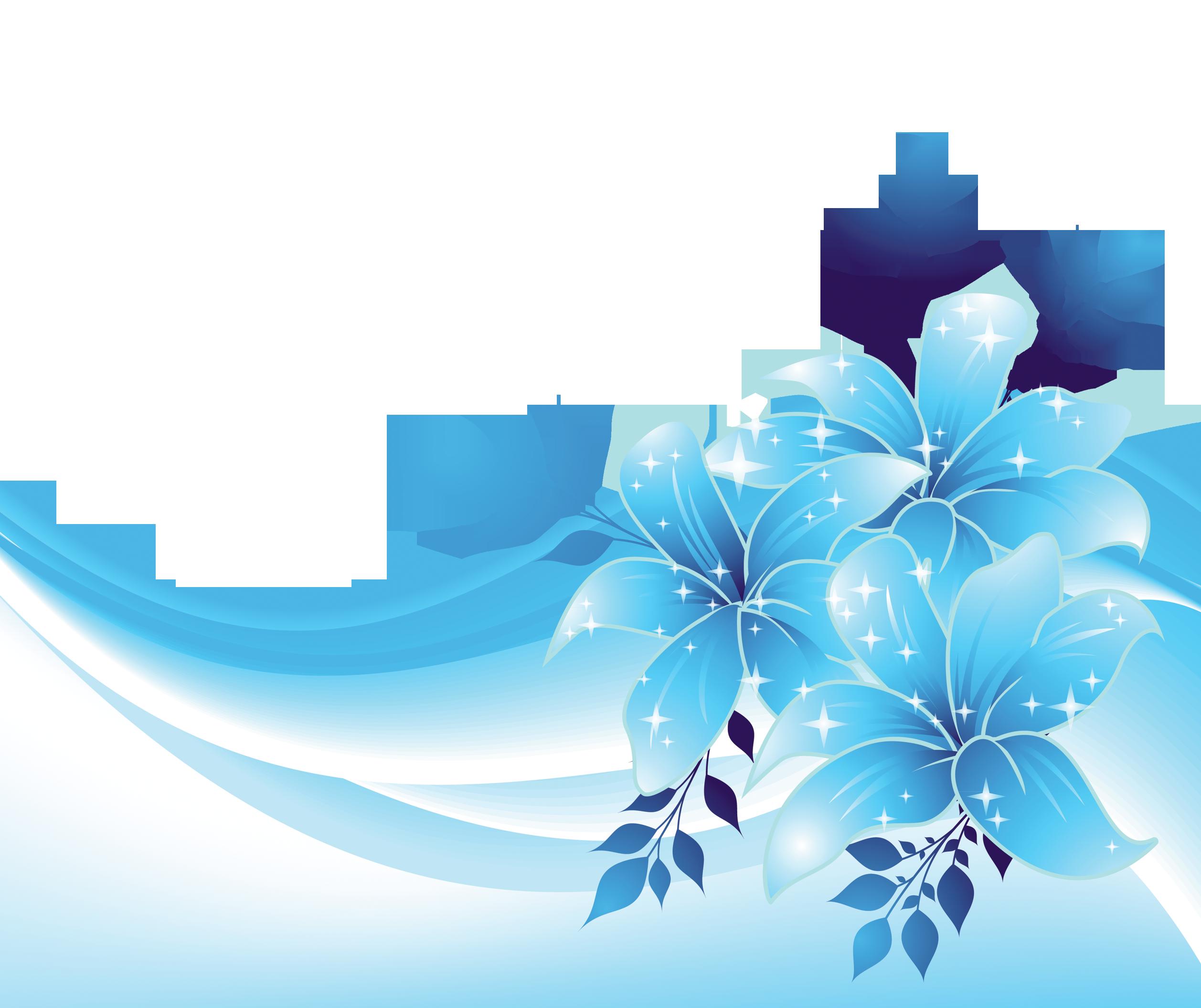 Blue Decoration with Flowers PNG Transparent Clipart.