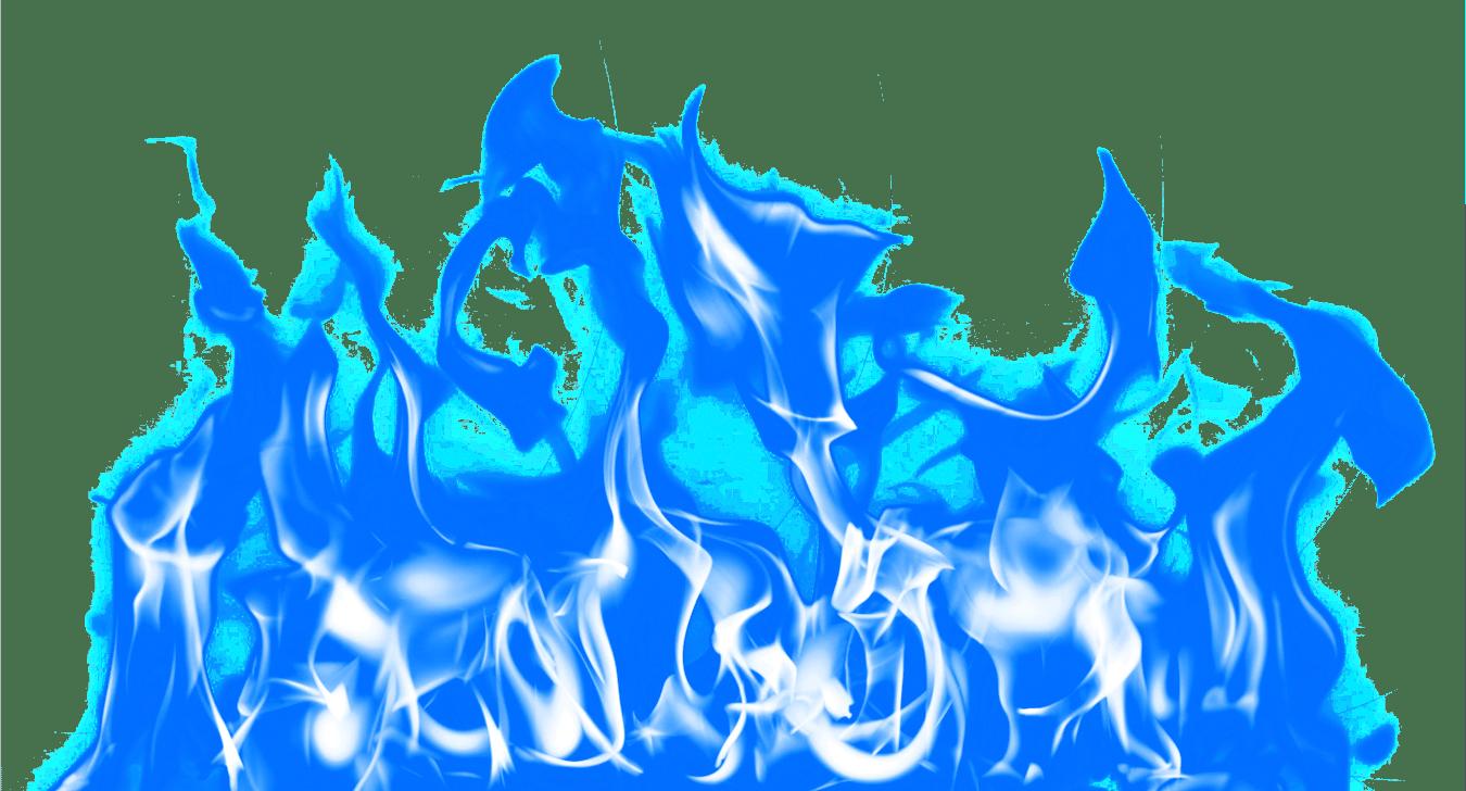 Large Blue Fire transparent PNG.