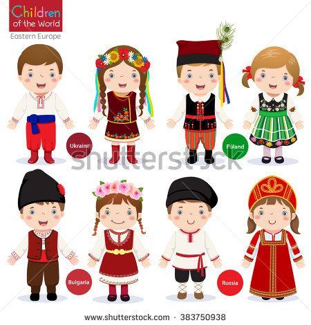 Kids in different traditional costumes (Ukraine, Poland, Bulgaria.