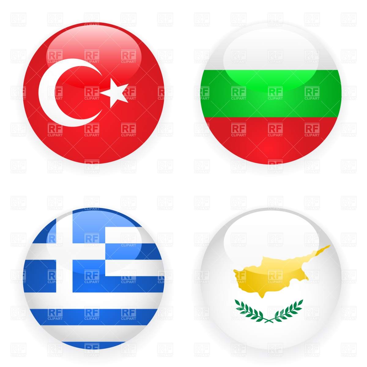 Turkey, Cyprus, Greece and Bulgaria button flags Vector Image.