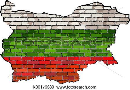 Clip Art of Bulgaria map on a brick wall k30176389.