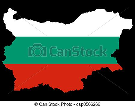 Stock Illustration of map of Bulgaria and Bulgarian flag.