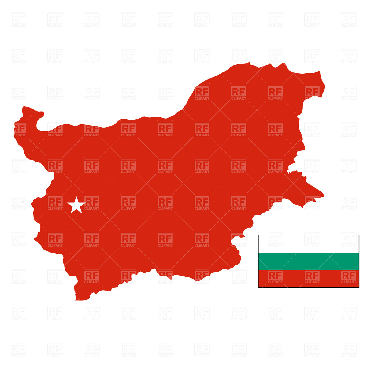 Bulgaria map and flag Vector Image #896.