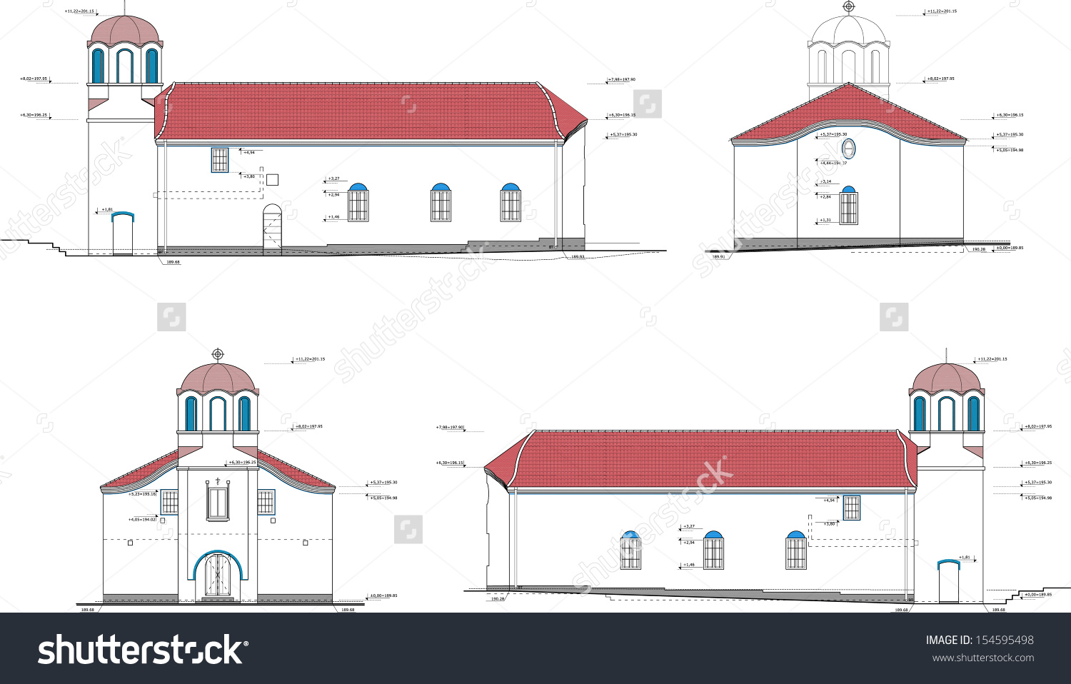 Typical Bulgarian Church Elevations Vector Drawing.