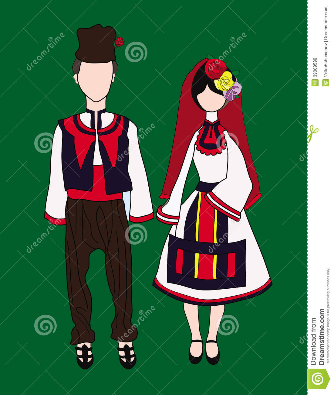 Dolls In Traditional Bulgarian Costumes Stock Vector.
